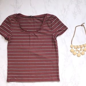 Forever 21 Dusty Rose Striped Scoop Neck Top